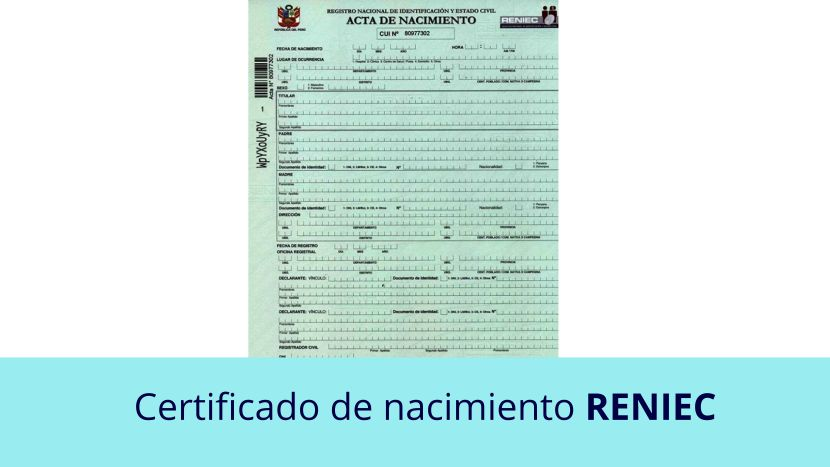 Certificado de nacimiento reniec