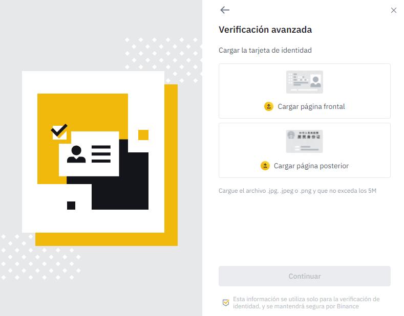 cargar imagen del documento de identidad binance