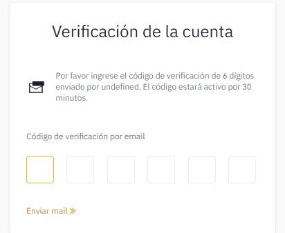 codigo de verificación binance