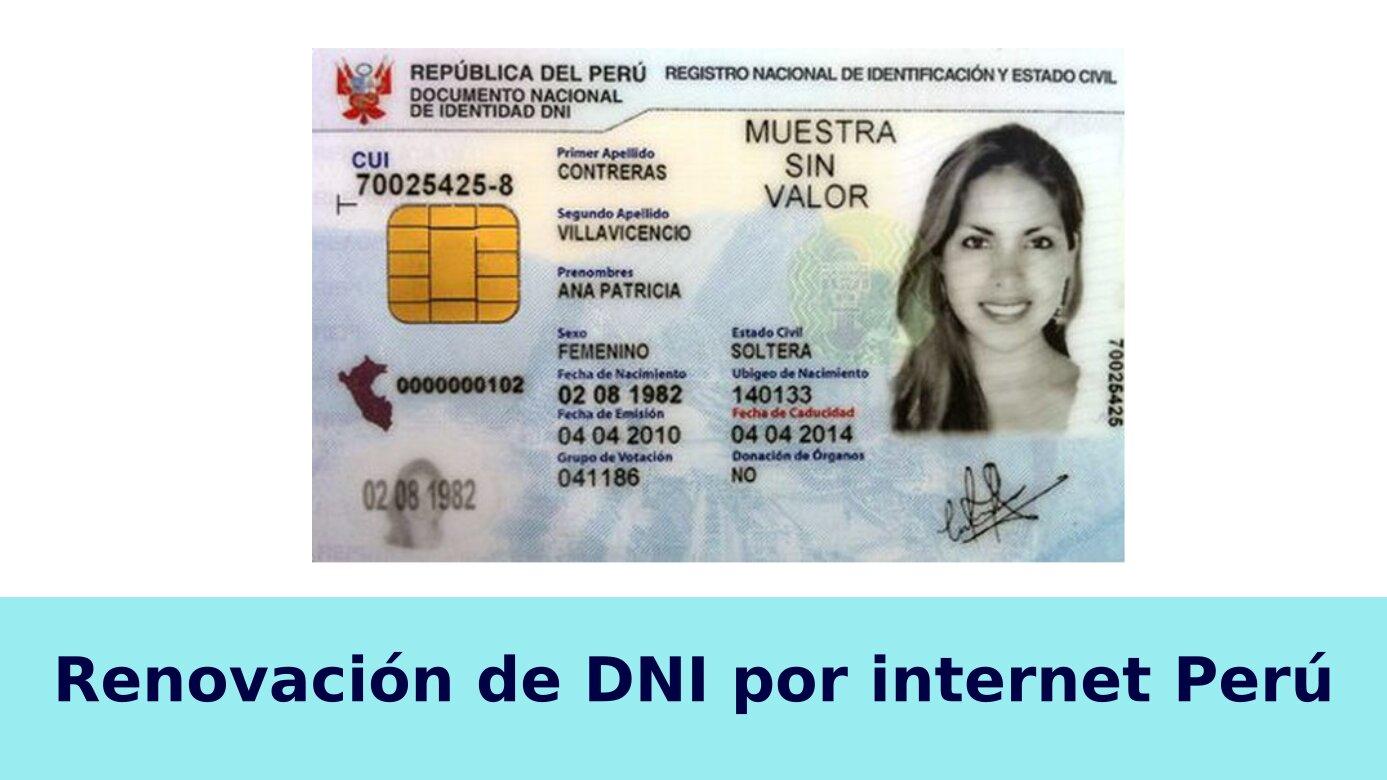 Renovación de DNI por internet Perú